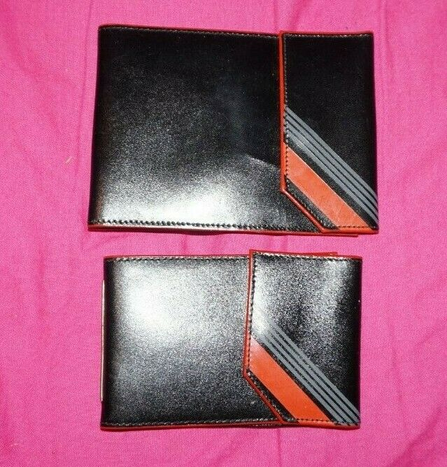 1970s/80s BLACK REAL LEATHER CHEQUE BOOK CARD MONEY WALLET & Card Holder SET