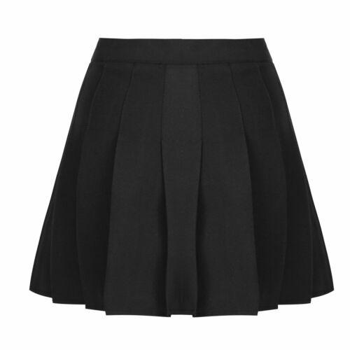 Womens Girls Short High Waisted Pleated Skater Tennis School Skirt Uniform Skirt