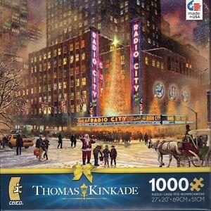 Thomas-Kinkade-Radio-City-Music-Hall-1000-Piece-Ceaco-Jigsaw-Puzzle-Jig-Saw