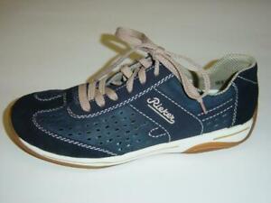 Details zu Rieker Schnür Halbschuhe | blau | Nubukleder | Größe 37 42 (Sneaker)