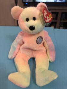 "Ty Beanie Baby B.B Bear pastel Birthday 8.5"" Tall 1999 item PE Pellets MNWT 4253"