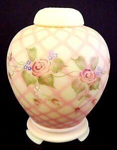 Fenton Glass Burmese Diamond Optic Roses 3Pc Ginger Jar Set QVC George Signature