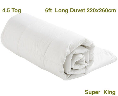 White Blended Cotton 260 x 220cm S//S 4.5 Tog 6ft SUPER KING size Duvet Quilt