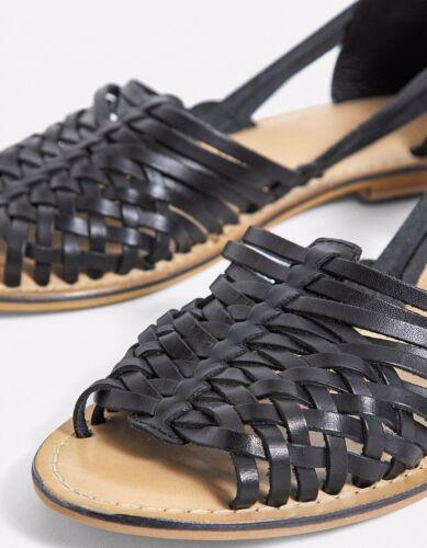 Urban Outfitters En Cuir Noir Huarache Sandales Taille 5