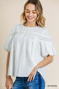 Umgee-White-Eyelet-Lace-Crochet-Detail-Short-Puff-Sleeve-Top