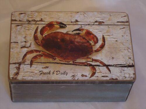 Picture Nautical Trinket Shell Fish Sea Crab Wooden Box Treasure Chest