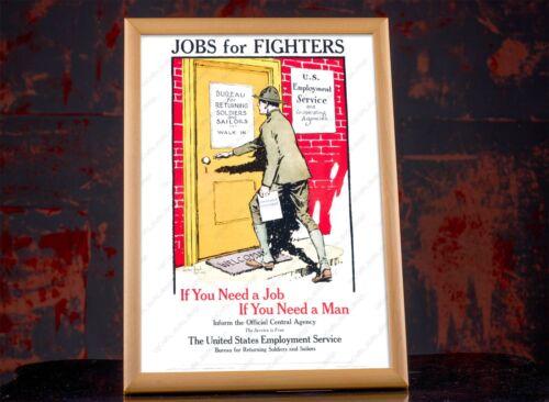 Americans Employment Service Propaganda Poster War Bureau Military Art Decor
