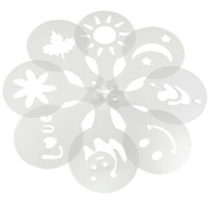 TRIXES Pack of 16 Various Design Barista Coffee Stencils and Cake Decoration Too