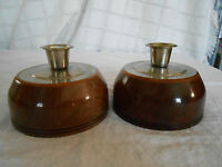 Hand crafted walnut w/cherry finish candle holders by Lon Haywood