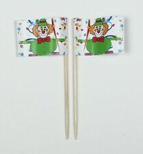 Party-Picker Clown 2 Karneval Fastnacht Fasching 50 St Dekopicker Papierfähnchen