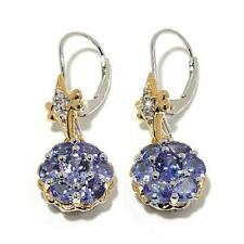 VICTORIA WIECK STERLING TANZANITE AND WHITE TOPAZ TWO-TONE CLUSTER EARRINGS HSN