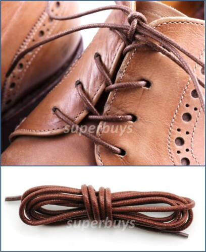 """Brown 120cm Round Wax Waxed Cotton Shoe Work Boot Cord Dress Laces 47/"""" 5//6 Eyes"""