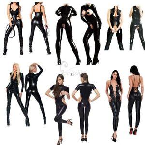 Women-039-s-PVC-Leather-Lingerie-Catsuit-Open-Bust-Crotch-Bodysuit-Jumpsuit-Costume