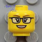 NEW Lego Female MINIFIG HEAD - Black Rimmed Rim Eye Glasses Pink Lips Girl Smile