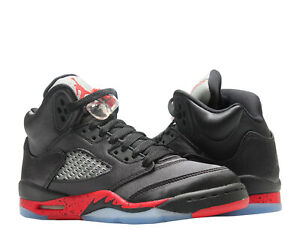 59c50dd95698 Nike Air Jordan 5 Retro (GS) Satin Black/Red Big Kid Basketball Shoe ...