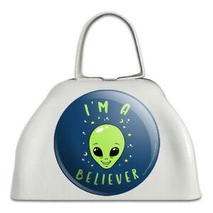 AgréAble Je Suis Un Croyant Alien Drôle Humour En Métal Blanc Sonnaille Vache Bell Instrument-afficher Le Titre D'origine