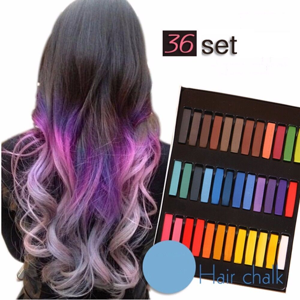 36 Color Hair Chalk Temporary Coloring Diy Non Toxic Pastel Salon