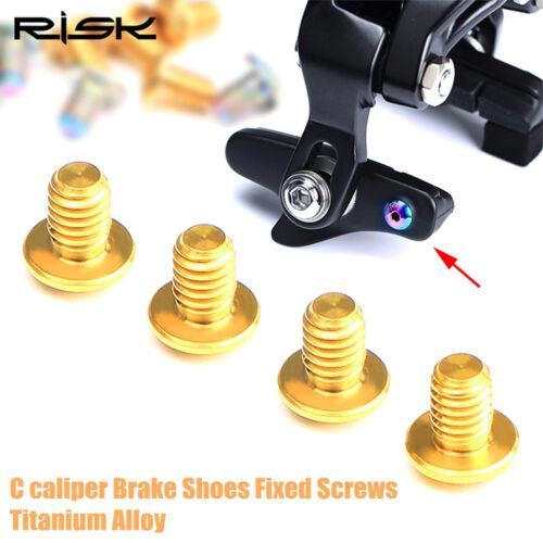 New Risk 4 pcs Titanium Alloy Road bike Caliper Brake Shoes Pads Lock Bolts