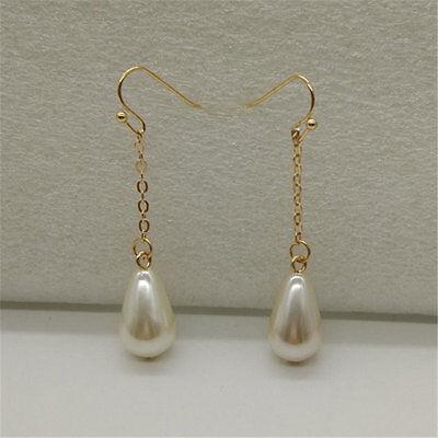 1 Paire Femmes Mode Chic Triangle Goutte Perle Longue Boucle d'oreille Bijoux