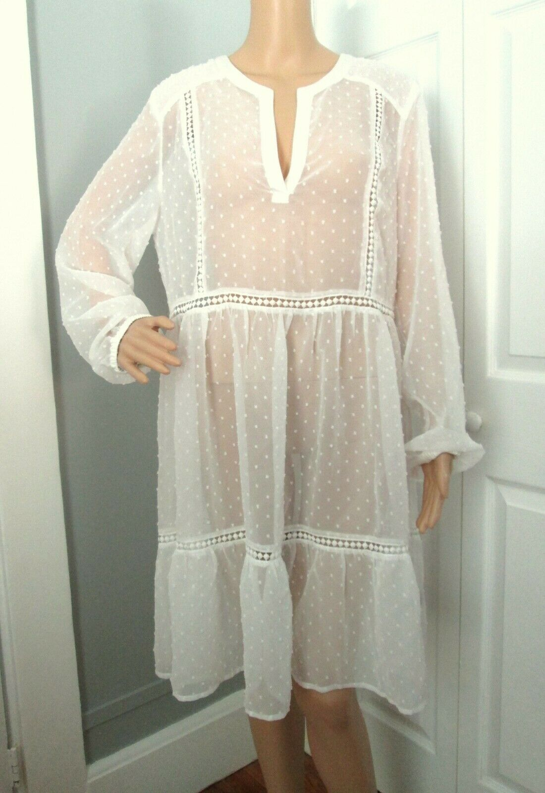 Context Seign & Taill Pur Weiß Nubby Tricot Points Empire Robe XL - Neuf