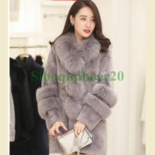 Tykk Rabbit Sibo Fur Real Parka Overcoat Kvinders Winter Jacket Stilfuld Outwear q6XSn