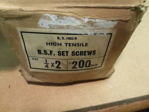 """Pack of 10 Hex Head Bolts 1//4 x 2/"""" long BSF Vintage CL NOS"""