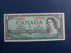 1954-Canada-1-Dollar-Replacement-Bank-Note-AF0296969-VF-Cond-19-707