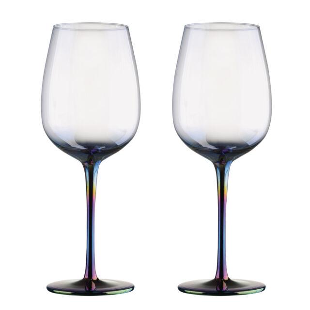 Verre A Vin Moderne artland mirage set de 2 verres À vin iridescent coloré décoré tige
