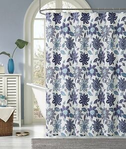 Image Is Loading Sardinia Purple Blue White Floral Flower Fabric Shower