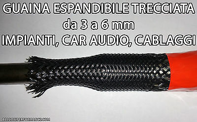 CAR AUDIO TUNING 100 metri GUAINA ESPANDIBILE TRECCIATA Ø da 3 a 6 mm PER CAVI