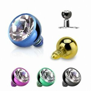 Details About Piercing Microdermal Titanium Rhinestone