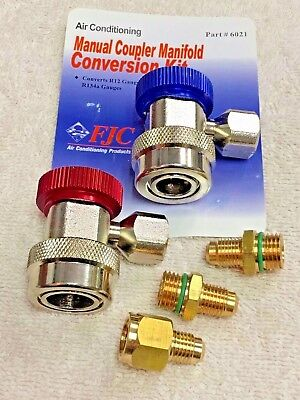 R134a Manual Coupler Set w//14mm Hose Connections FJC