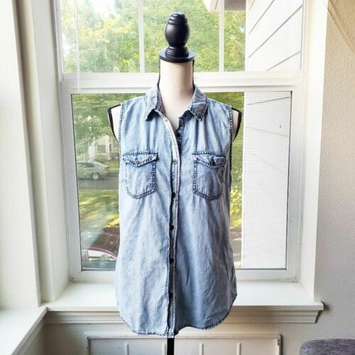 Japna Chambray Acid Wash Sleeveless Top | Large