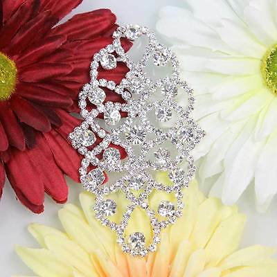Shinning 1Pc Fasion Clear Rhinestone Trim Crystal Sew On Bridal Applique Silver