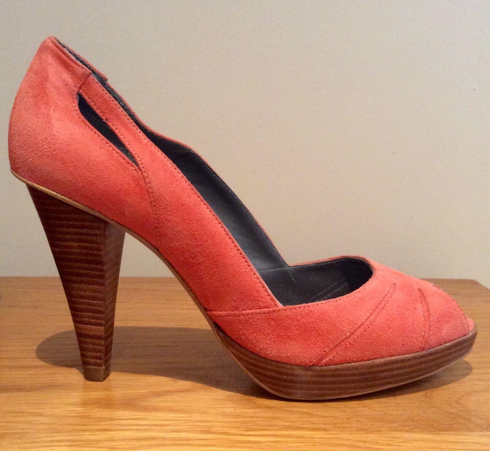 Jigsaw Chaussures   Taille 38 UK 5 Corail Daim Cuir Découpe Talons Hauts Plateforme