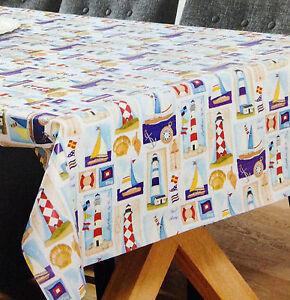 wachstuch tischdecke eckig rund oval abwaschbar leuchtturm maritim k be4201 ebay. Black Bedroom Furniture Sets. Home Design Ideas