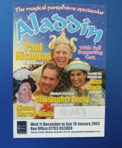 THEATRE FLYER ALADDIN SIGNED BY MICHAEL SHARVELL MARTIN