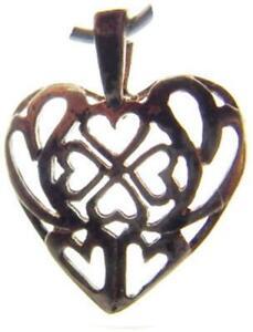 Patina! Vintage .925 Sterling Silver Hands Holding Heart Necklace Pendant