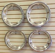 """15"""" 3"""" CHEVY BOWTIE Chrome Stainless Steel Trim Ring Set 15x8 15x10 Rally Wheels"""