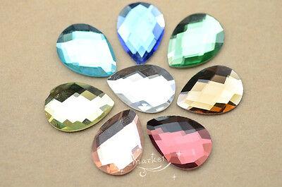 50 PCS 18mm x 25mm Tear Drop Glass Faceted Glass Flat Back Jewels