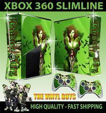 XBOX 360 SLIM STICKER POISON IVY ARKHAM GIRLS BATMAN GOTHAM SKIN & 2 PAD SKINS