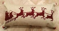 Pottery Barn Sleigh Bell Crewel Embroidered Lumbar Pillow Sold Out Christmas