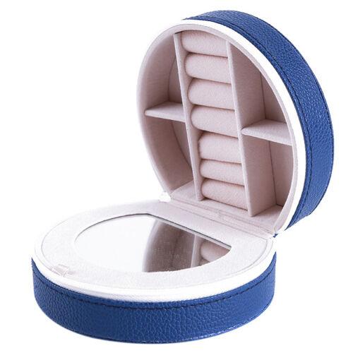 Women/'s Mini Travel Jewellery Case Box Makeup Organizer PU Leather Earrings Ring