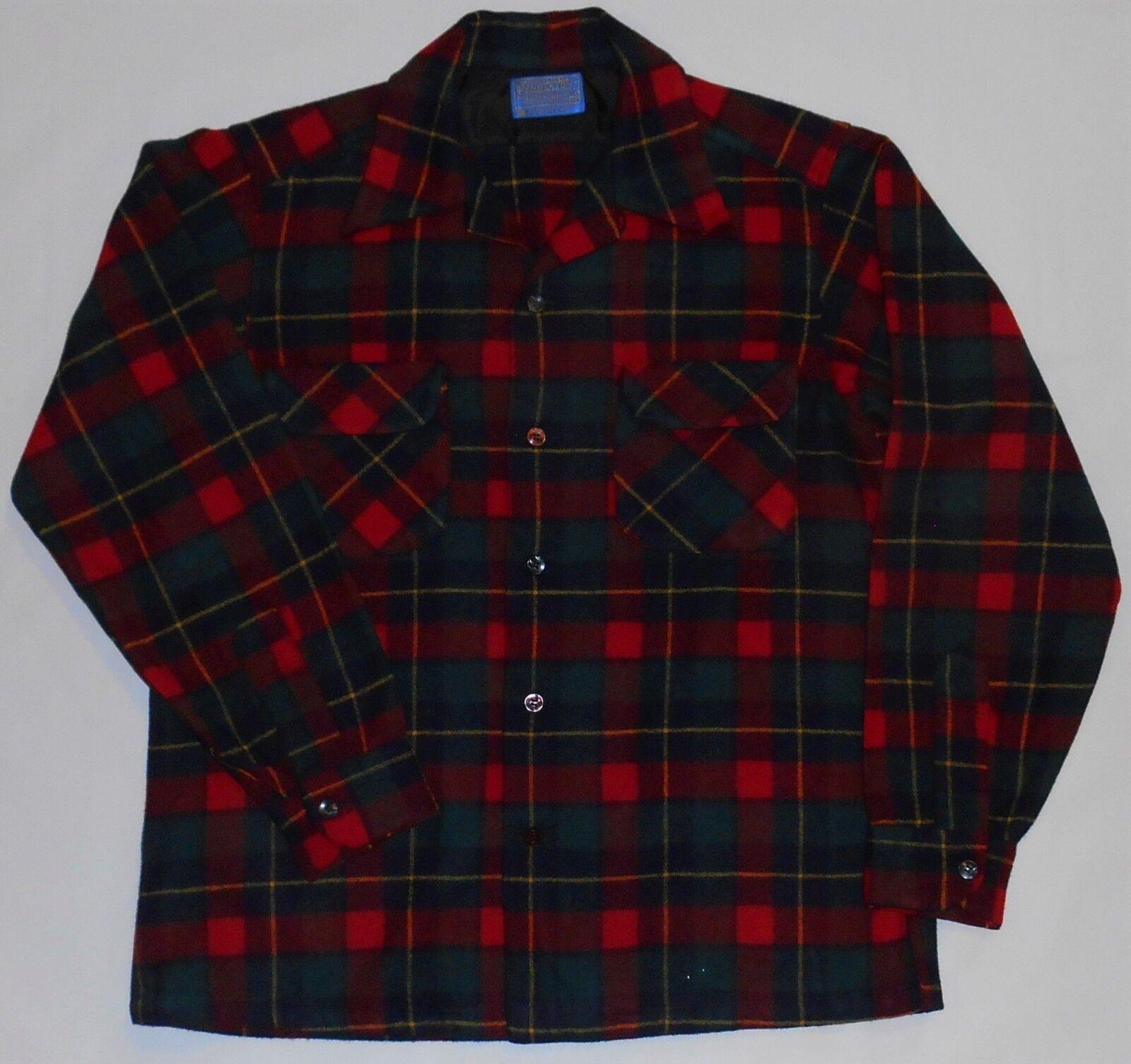 Vintage Pendleton Woolen Mills Button Down Wool Board Plaid Shirt Medium USA