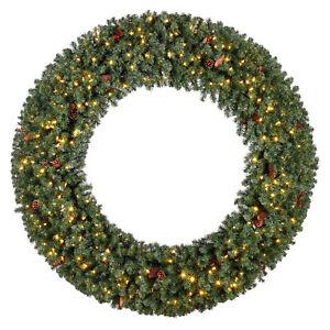 "Evergreen Classics 72"" Pre-Lit Christmas Wreath w/ 400 Color Change LED Lights"