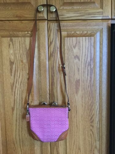 Vintage COACH Crossbody. Pink Rose Signature C's.