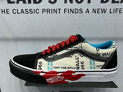 Details about Vans Old Skool Off The Wall Flame Black Red White Canvas Size 7.5 13 New DS