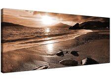 Brown Large Canvas Print of Beach Landscape  - 120cm x 50cm - 1076
