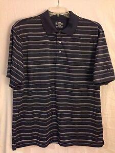 PGA-Tour-Men-s-XL-Black-White-Striped-Short-Sleeve-Golf-Polo-W-Vents-100-Cotton
