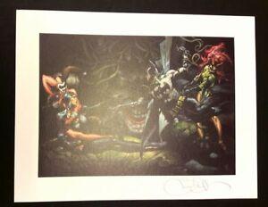 Simone-Bianchi-stampa-33x43-firmata-Batman-Joker-Harley-Quinn-DC-Comics